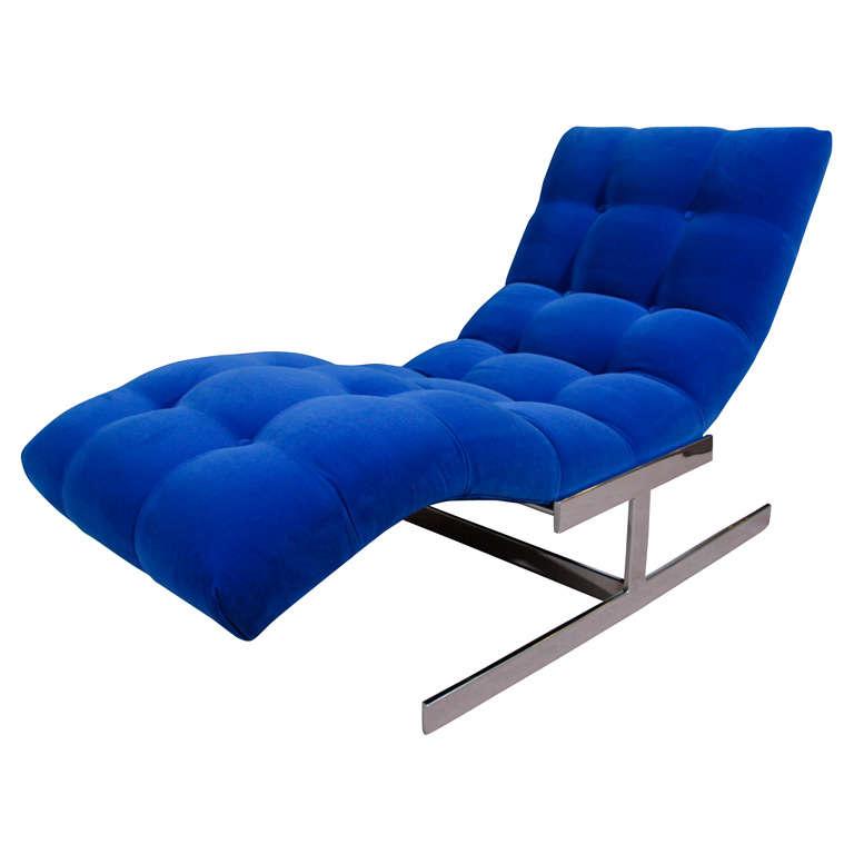 """Mid Century Cobalt Blue Velvet Milo Baughman """"Wave"""" Chaise"""