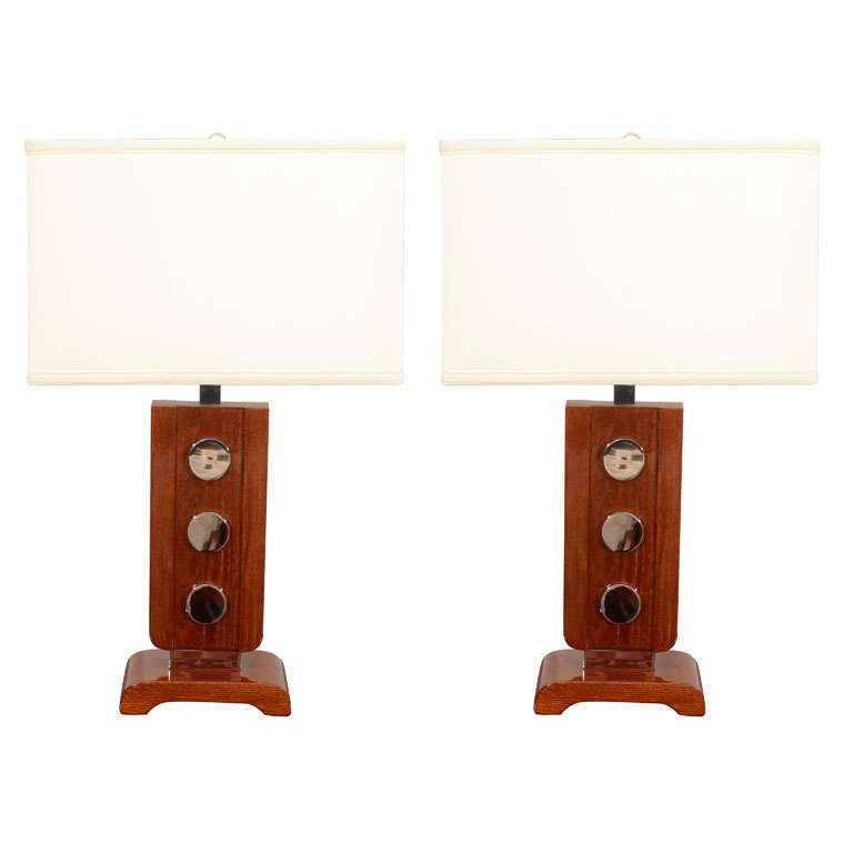 Pair of Art Deco Table Lamps in the Style of James Mont For Sale