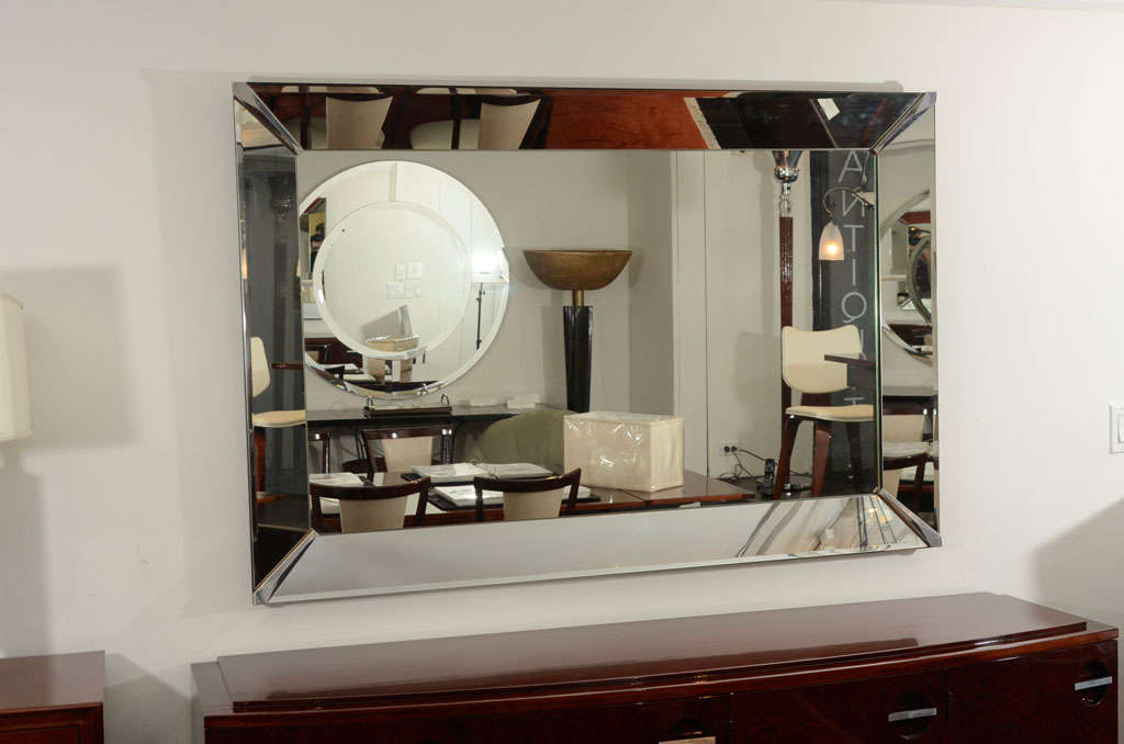Hollywood regency art deco beveled wall mirror at 1stdibs for Hollywood regency wall decor