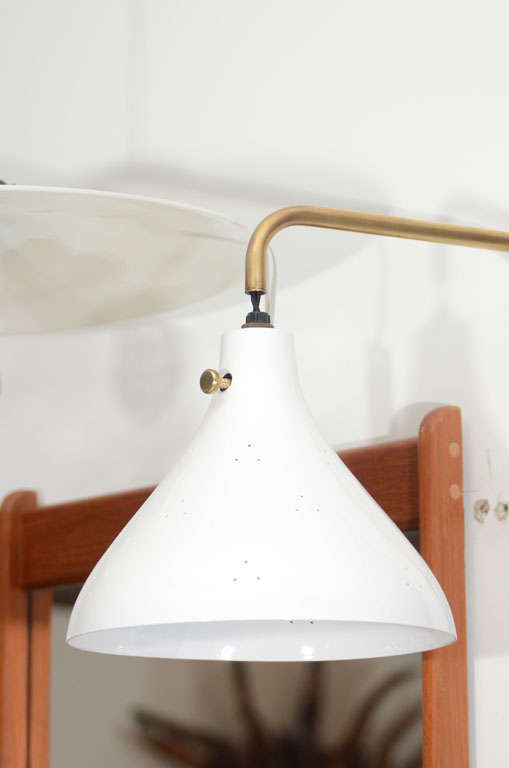 Brass Wall Lamps Bedroom : Pair of White Metal and Brass Bedroom Wall Lamps at 1stdibs