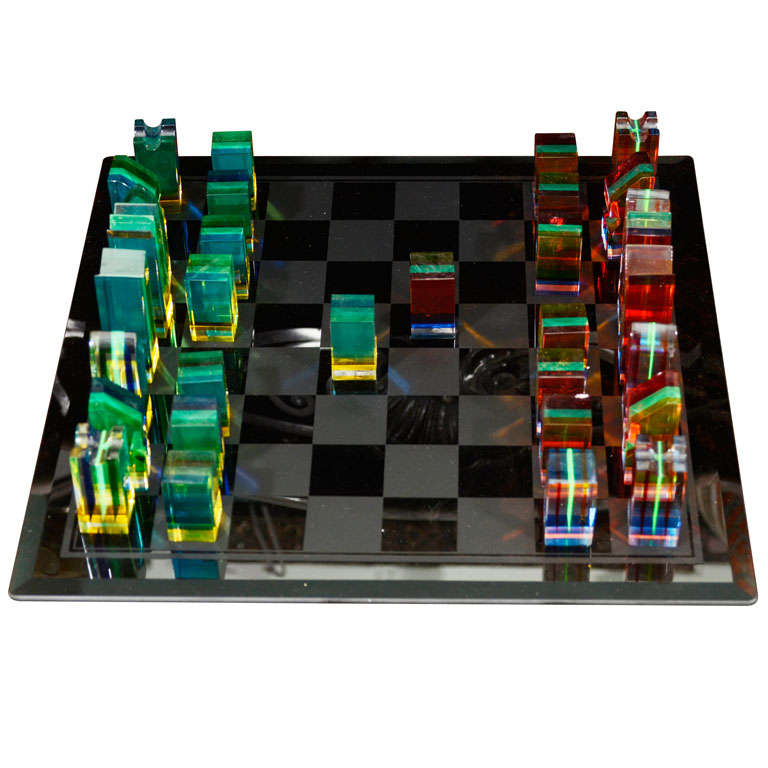 Charles Hollis Jones Acrylic And Glass Chess Set At 1stdibs