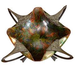 An Art Nouveau Enameled & Bronze Dish