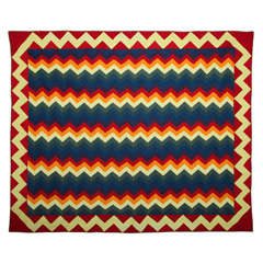 """Zig-Zag Rainbow"" Pieced Quilt."