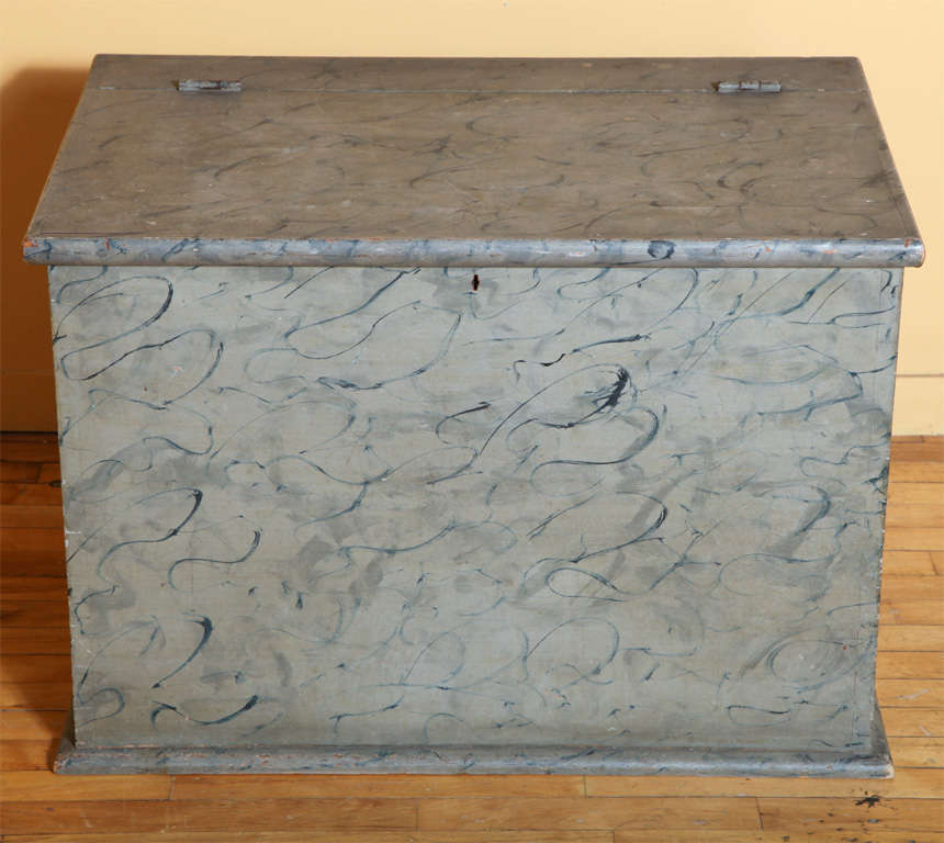New England Nineteenth-century Blanket Box. Fine original paint decoration on all four sides.  Wonderful color, size and excellent detail.