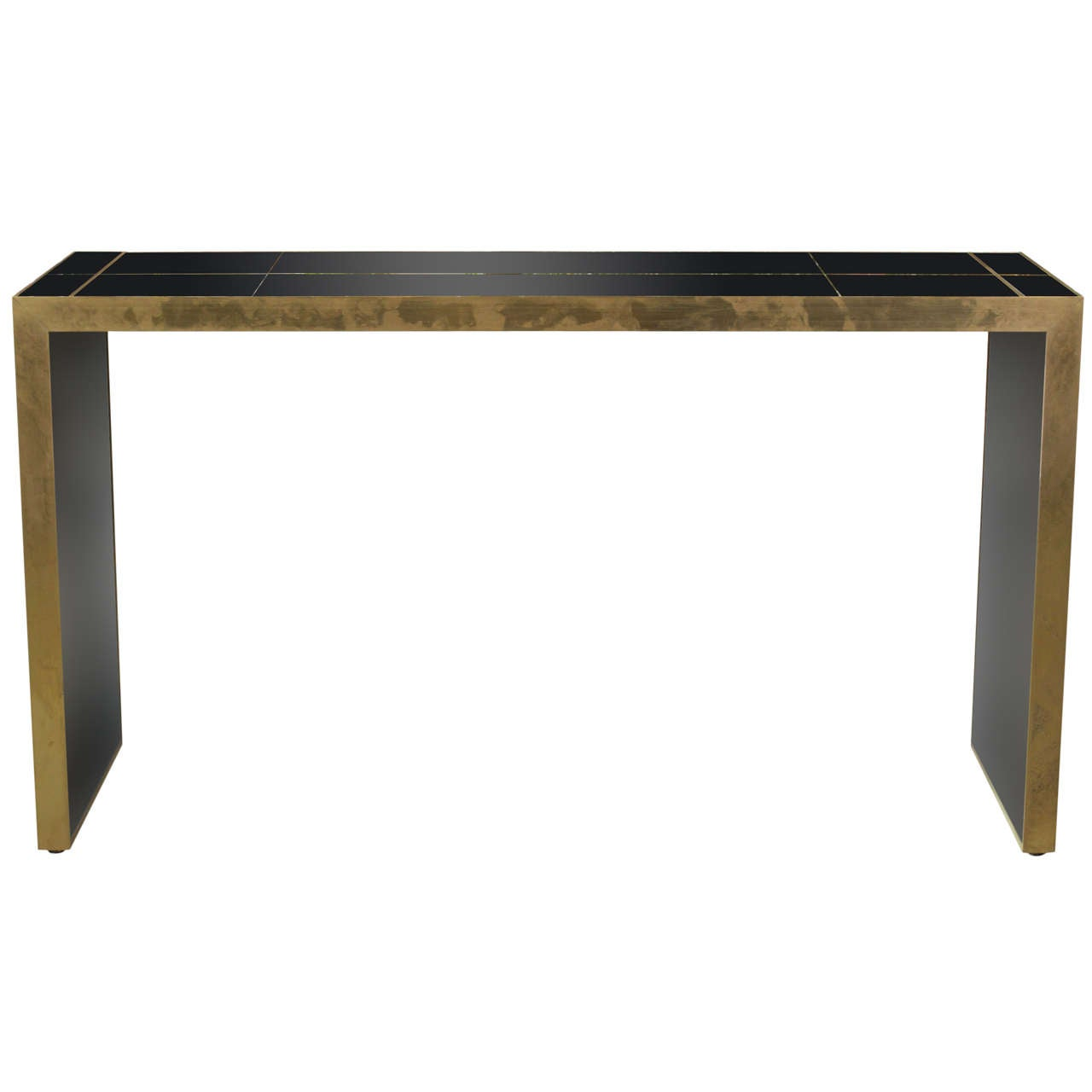 Black mirrored parson style console table at 1stdibs for Black and mirrored console table