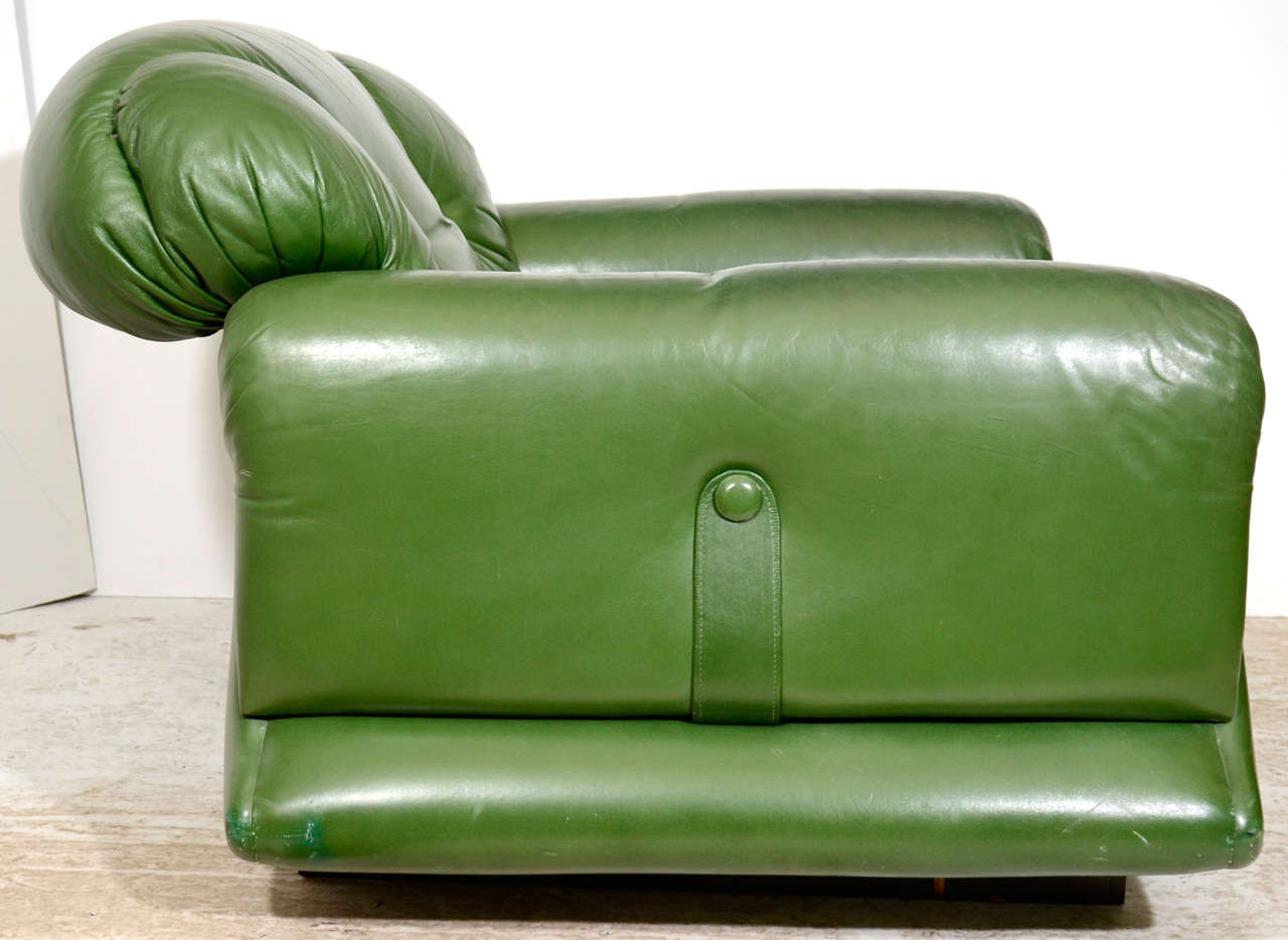 Mod overstuffed green leather lounge chair at 1stdibs for Overstuffed armchair