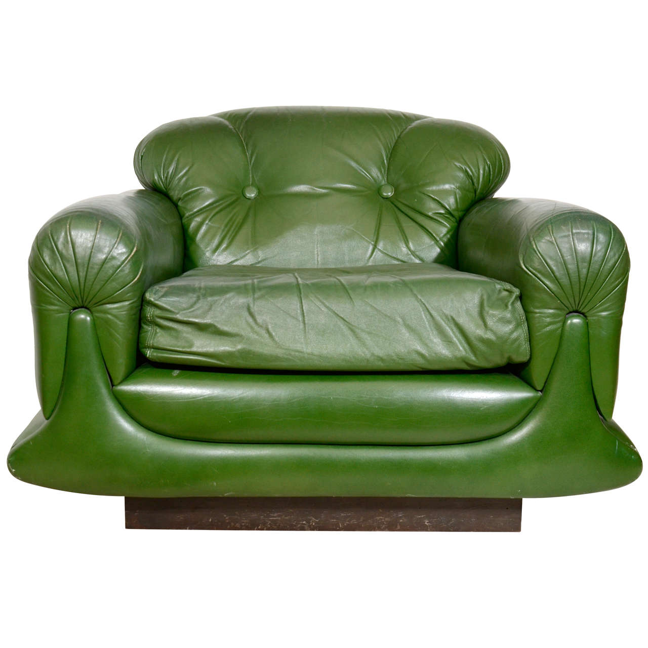Merveilleux Mod Overstuffed Green Leather Lounge Chair For Sale
