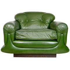 Mod Overstuffed Green Leather Lounge Chair