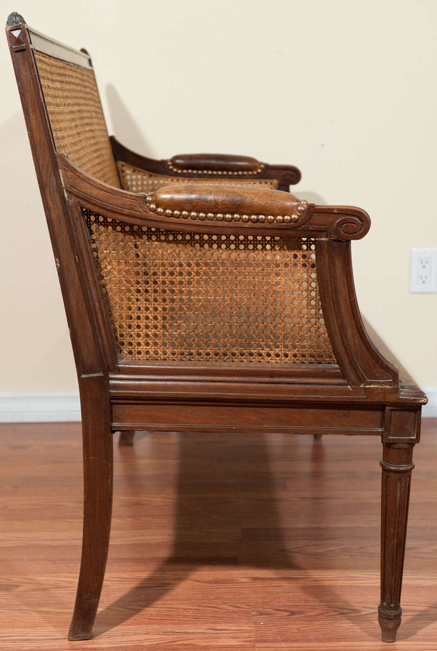 louis xvi style walnut caned back canape at 1stdibs. Black Bedroom Furniture Sets. Home Design Ideas