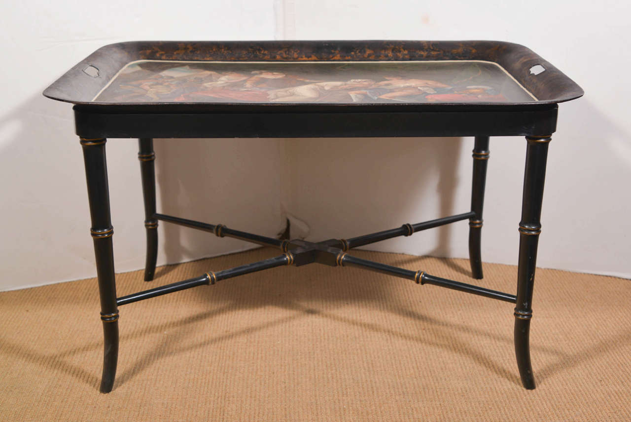 Unknown Continental Tole Tray on Stand For Sale