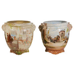 Pair of Large French Magolica Jardinieres