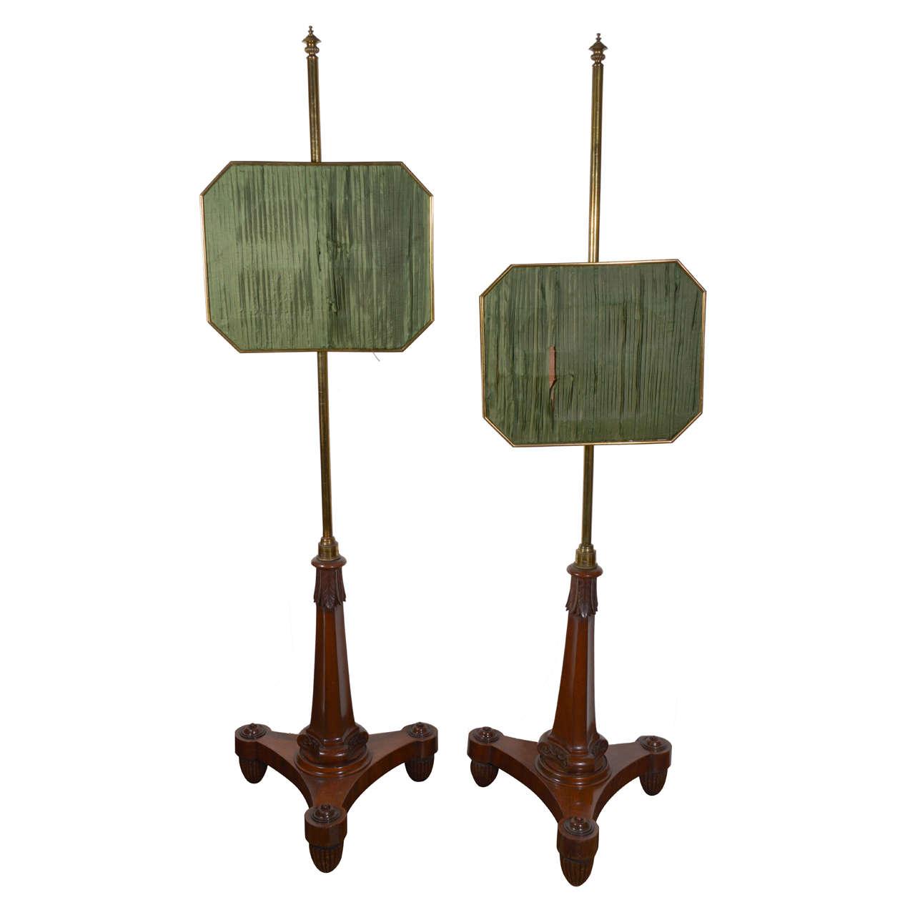 Pair of Regency Gilt-Brass Mounted Pole Screens