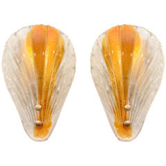 Pair of Stylized Shell Sconces by Barovier, 2 pairs