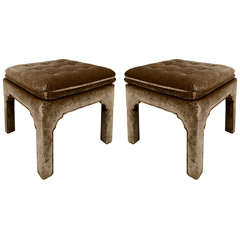 Pair of French Cut Velvet Ottomans by Widdicomb