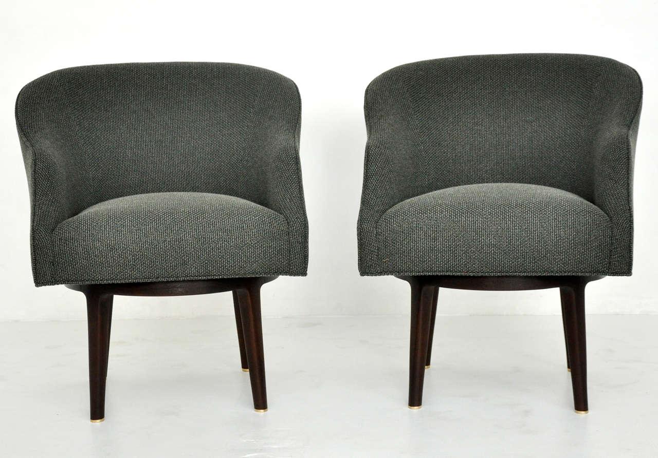 Mid-Century Modern Dunbar Swivel Lounge Chairs by Edward Wormley For Sale
