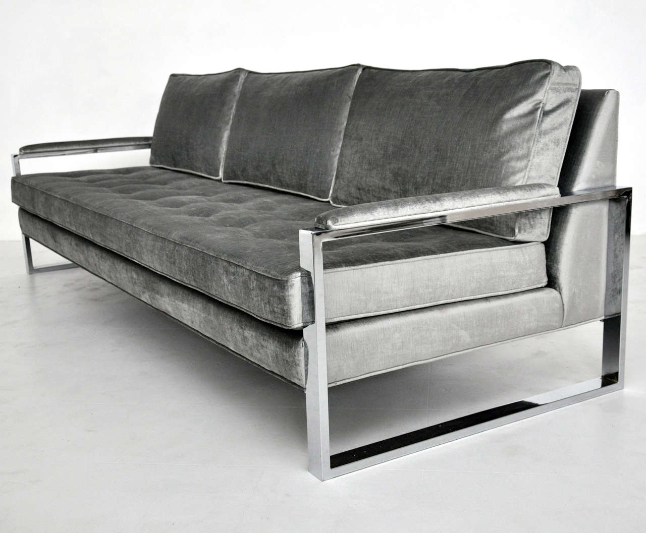 Milo baughman chrome frame sofa at 1stdibs Steel frame sofa