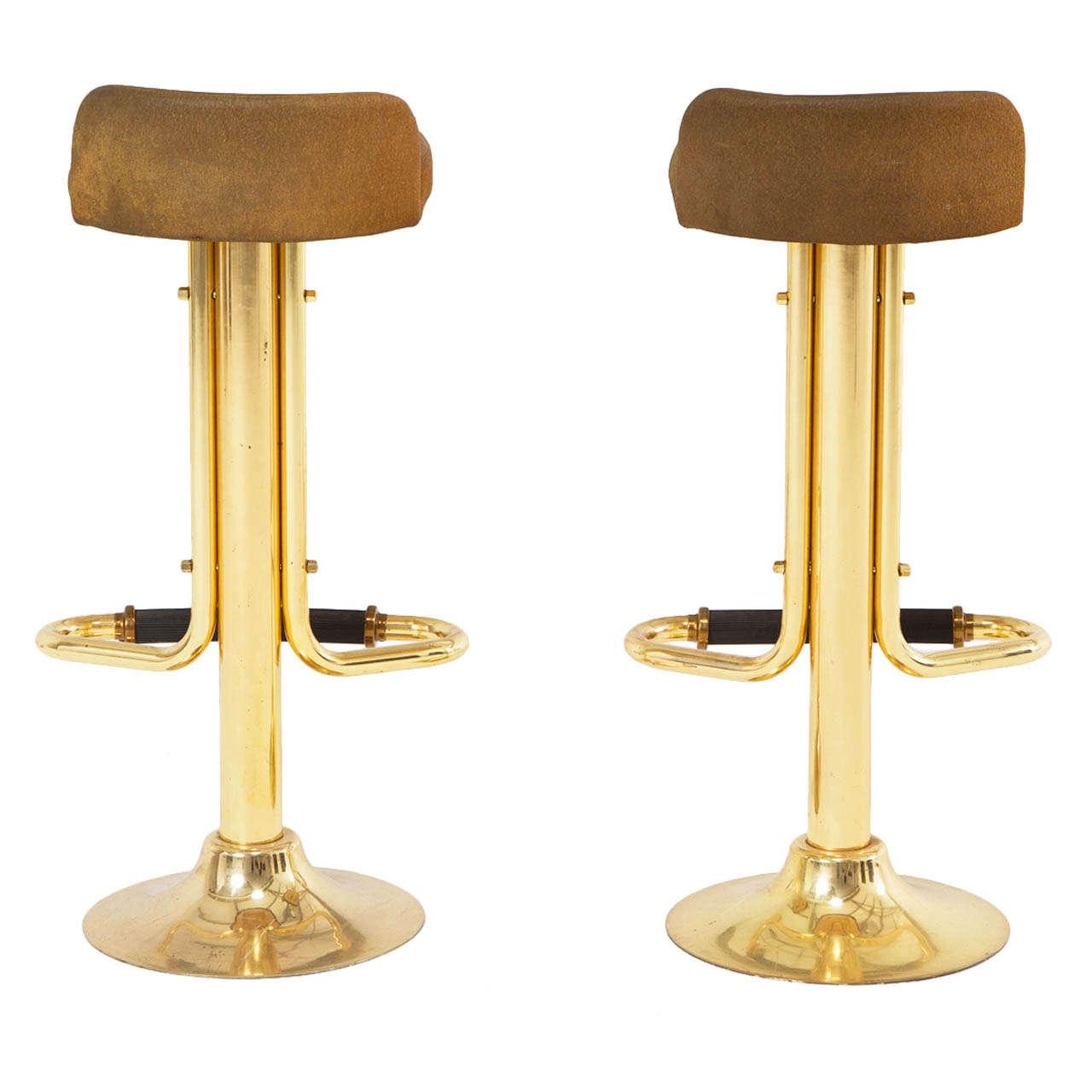 Pair Of Brass Coated Bar Stools At 1stdibs