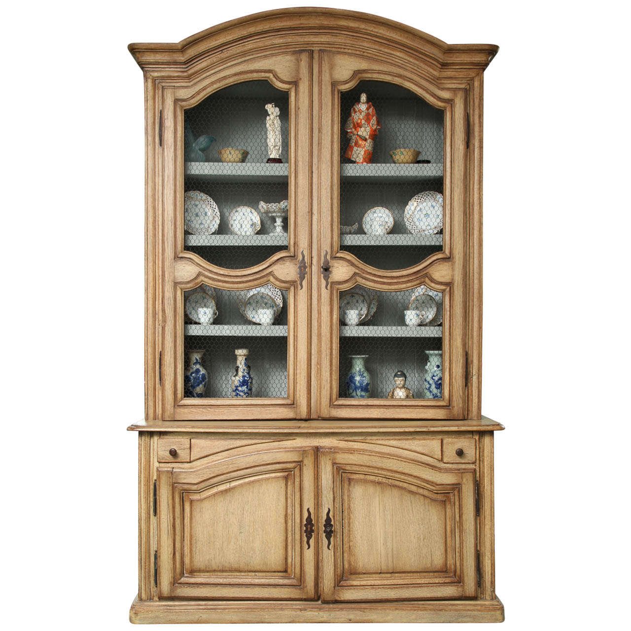 Cerused French Oak Kitchens And Cabinets: 19th Century French Provincial Cerused Oak Display Cabinet