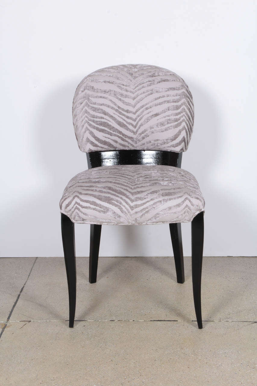 Luxurious Pair of Black Lacquer Art Deco Side Chairs 3