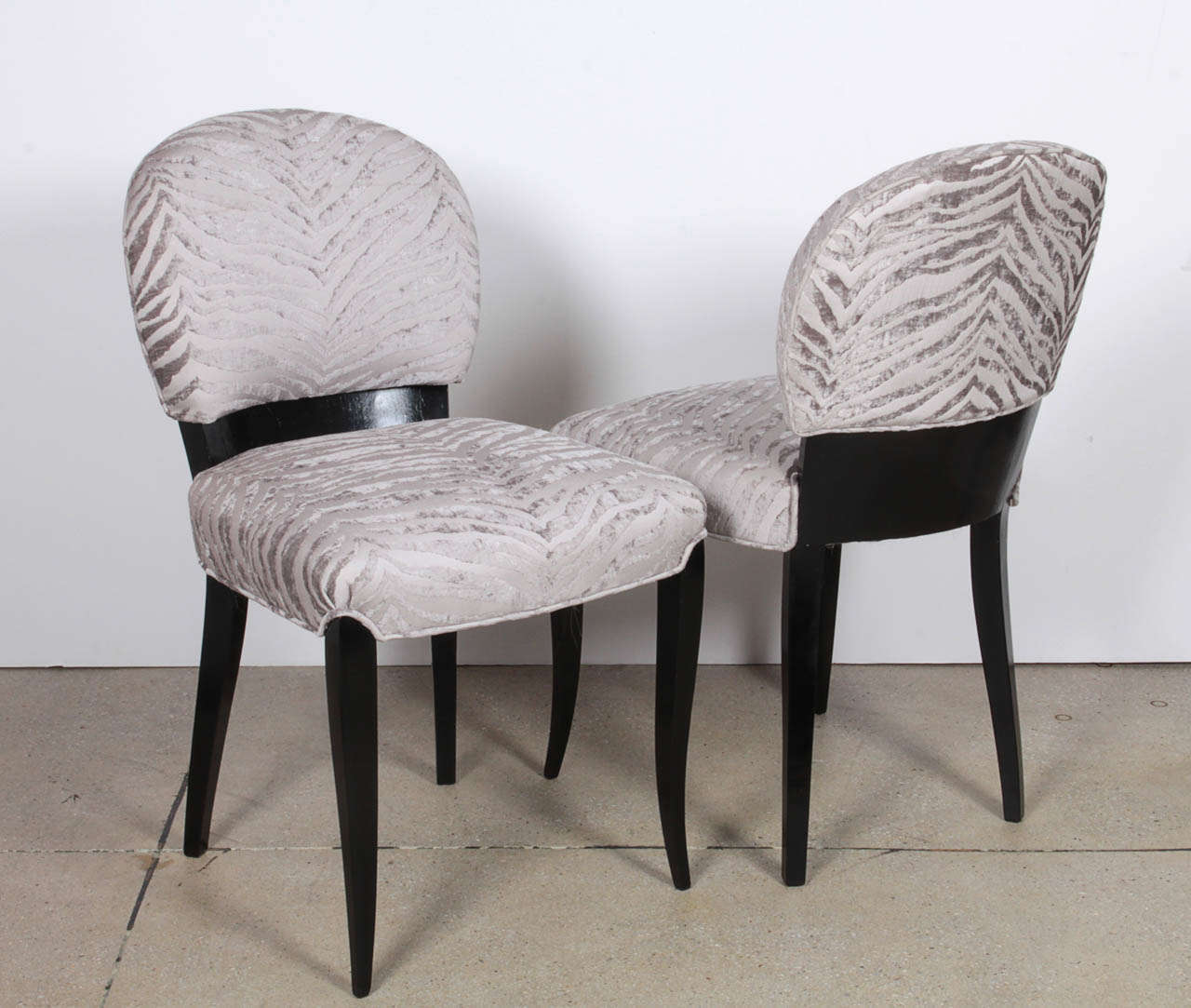 Velvet Luxurious Pair of Black Lacquer Art Deco Side Chairs For Sale