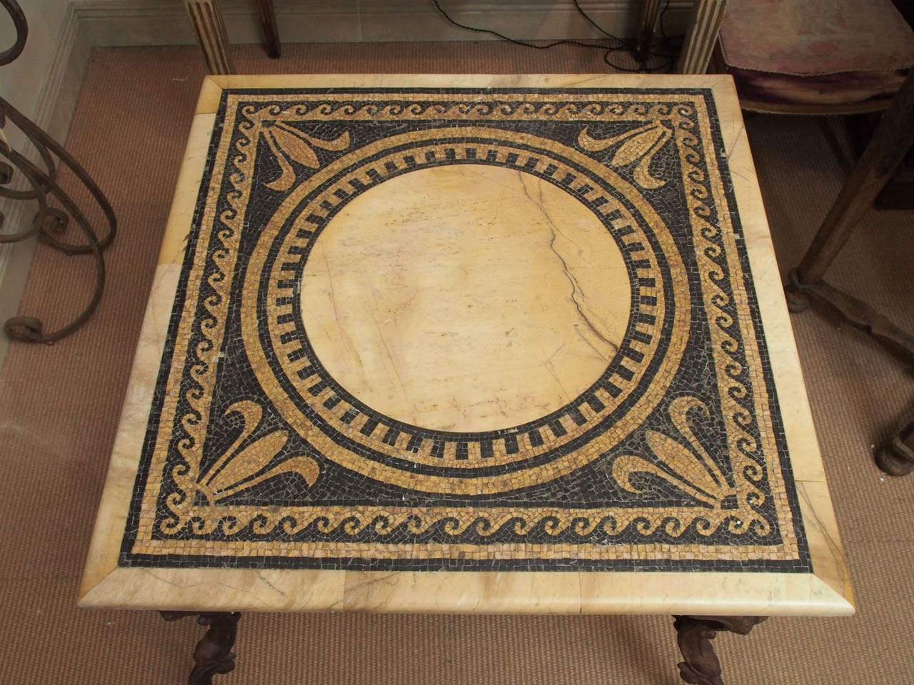 Italian 19th Century Table with Marble and Mosaic Top, Iron Base For Sale