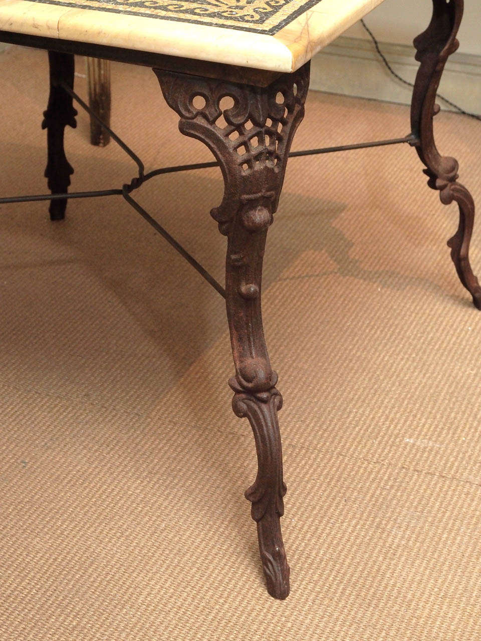 19th Century Table with Marble and Mosaic Top, Iron Base For Sale 1