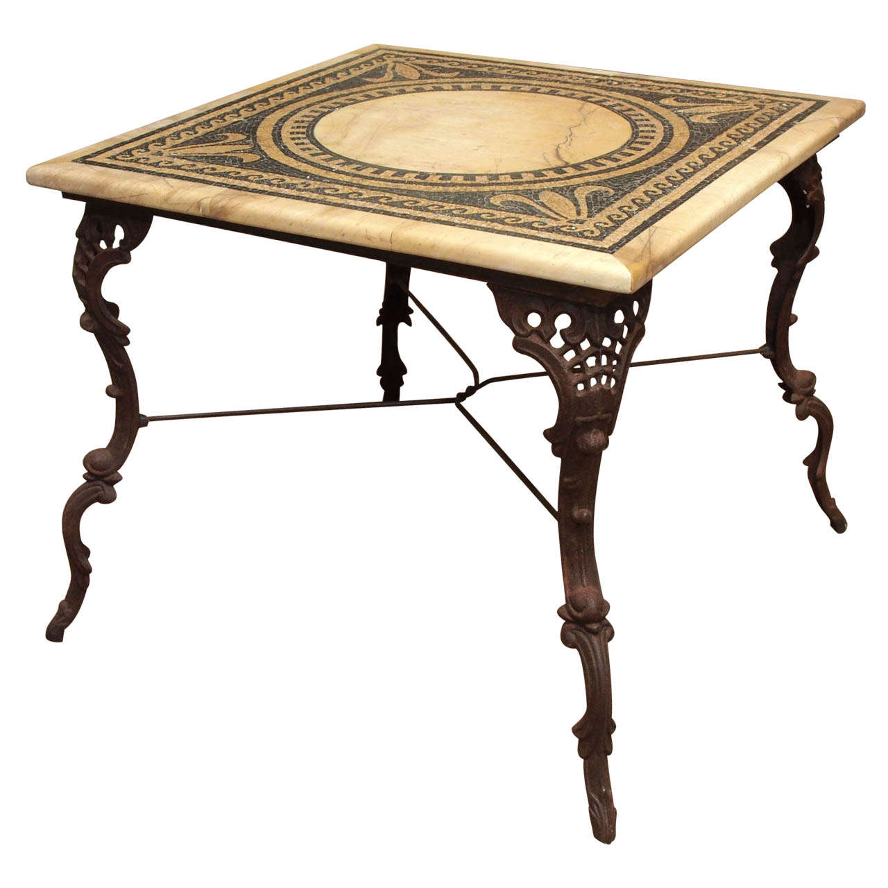 19th Century Table with Marble and Mosaic Top, Iron Base