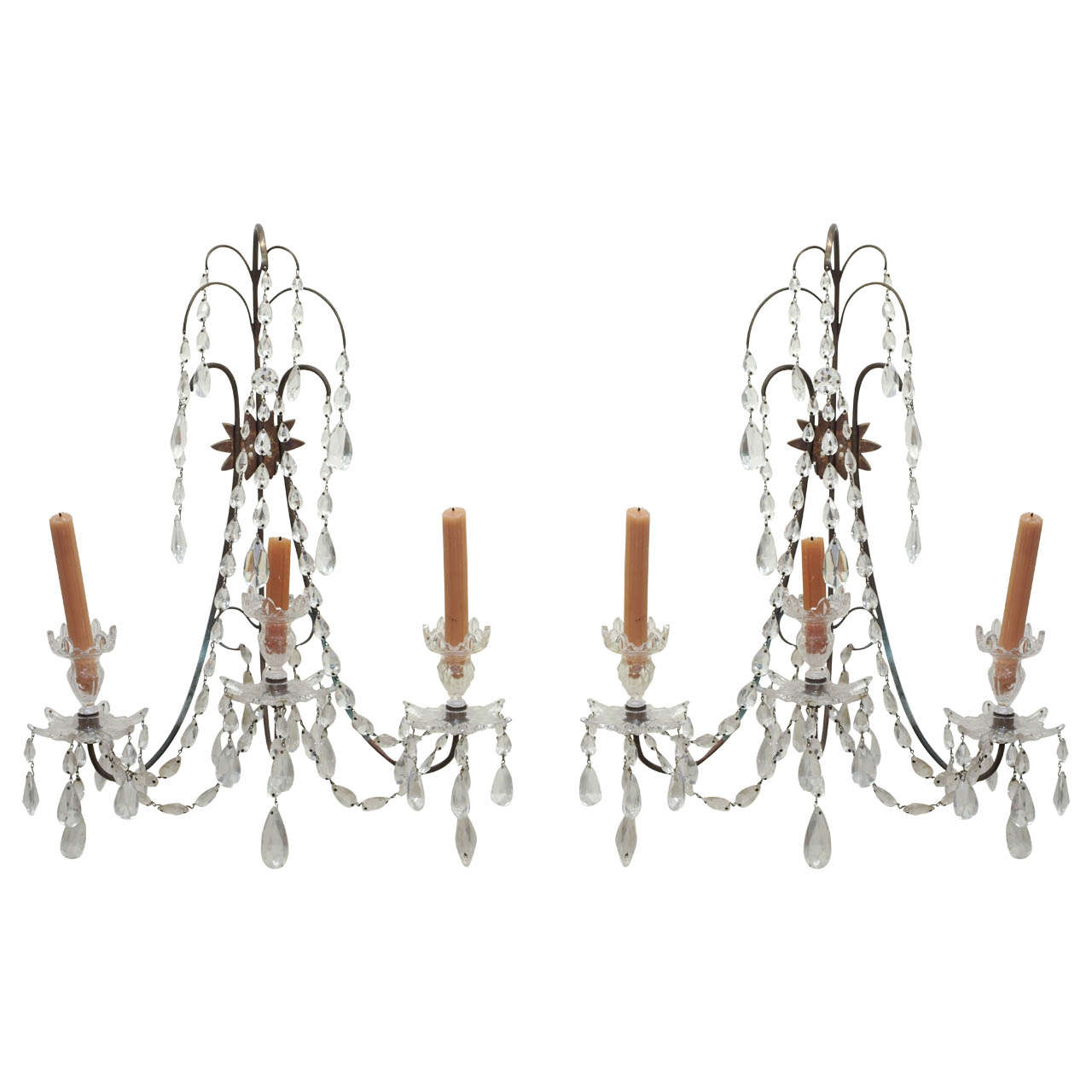 Early 20th c Pair of Crystal Sconces