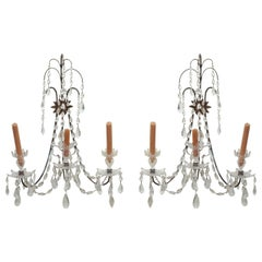 Pair of Early 20th Century Crystal Sconces