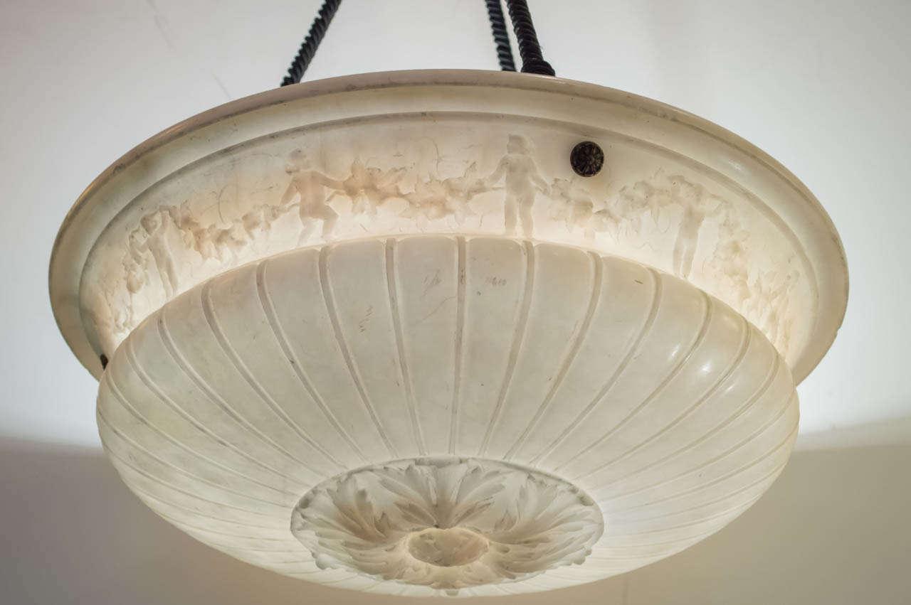 Carved Alabaster Bowl Pendant Chandelier At 1stdibs
