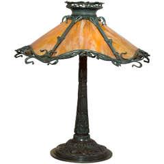 Art Nouveau Bronze and Bent Slag Glass Lamp by Gorham