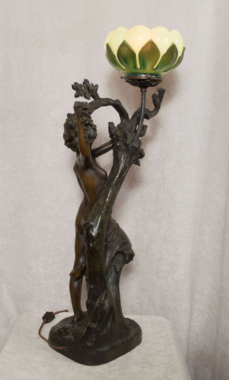 French Bronze Art Nouveau Figural Lamp At 1stdibs