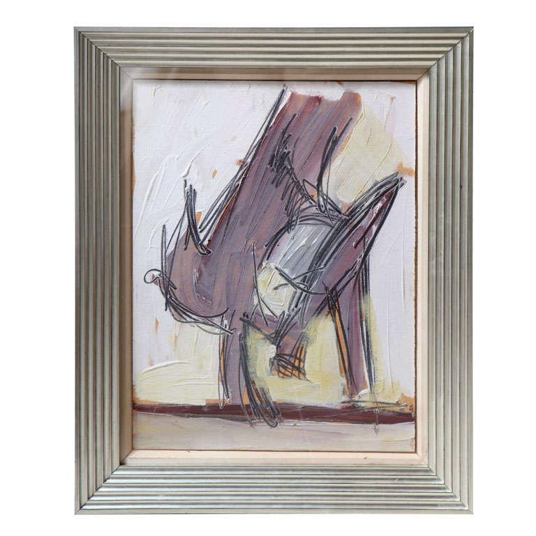 "Nicholas Krushenick Original Oil on Paper ""Bird"", 1929-1999"