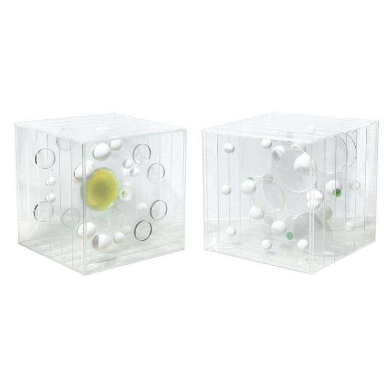 Two Lucite Art Pieces by Franco Scuderi, Italy, 1970s