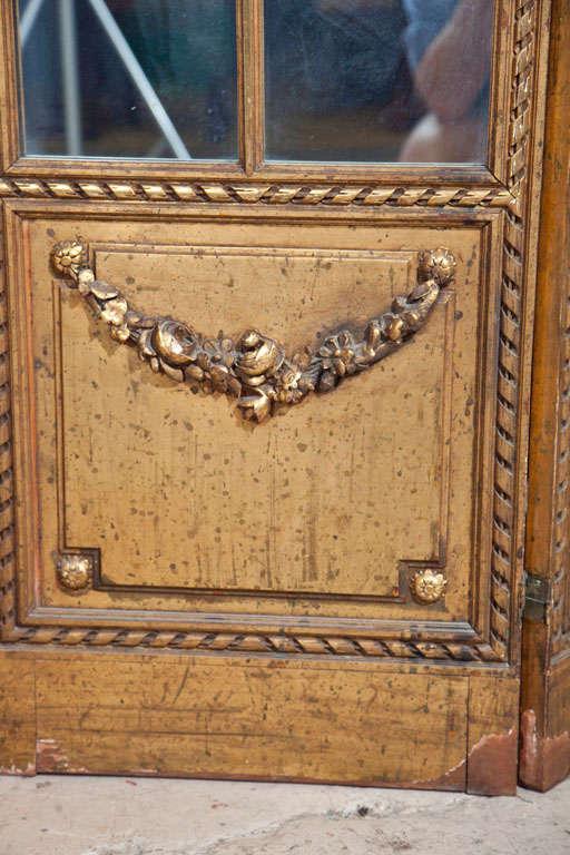 20th Century Gilt Mirrored Back Three-Panel Louis XVI Style Folding Screen Gilt Gold Finish For Sale
