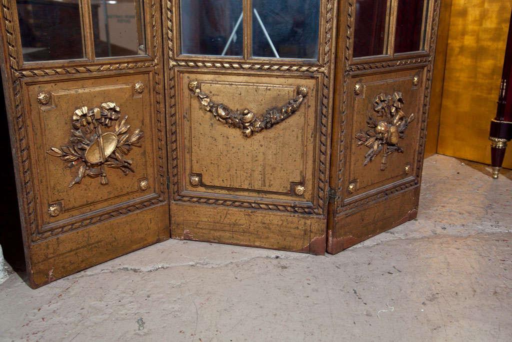 Gilt Mirrored Back Three-Panel Louis XVI Style Folding Screen Gilt Gold Finish For Sale 1