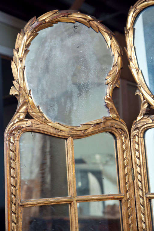 Gilt Mirrored Back Three-Panel Louis XVI Style Screen For Sale 3
