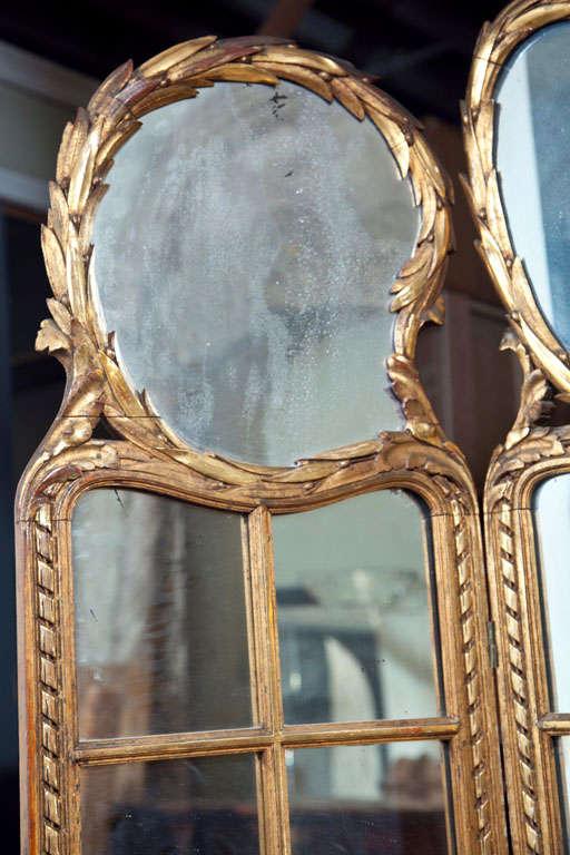 Gilt Mirrored Back Three-Panel Louis XVI Style Folding Screen Gilt Gold Finish For Sale 3
