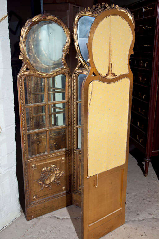 Gilt Mirrored Back Three-Panel Louis XVI Style Screen For Sale 4