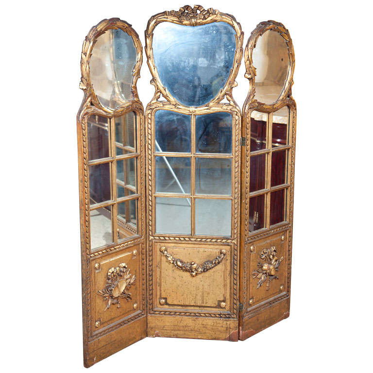 Gilt Mirrored Back Three-Panel Louis XVI Style Folding Screen Gilt Gold Finish