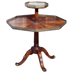 Flame Mahogany Octagonal Two-Tier Table White Marble Top Pedestal Base Jansen