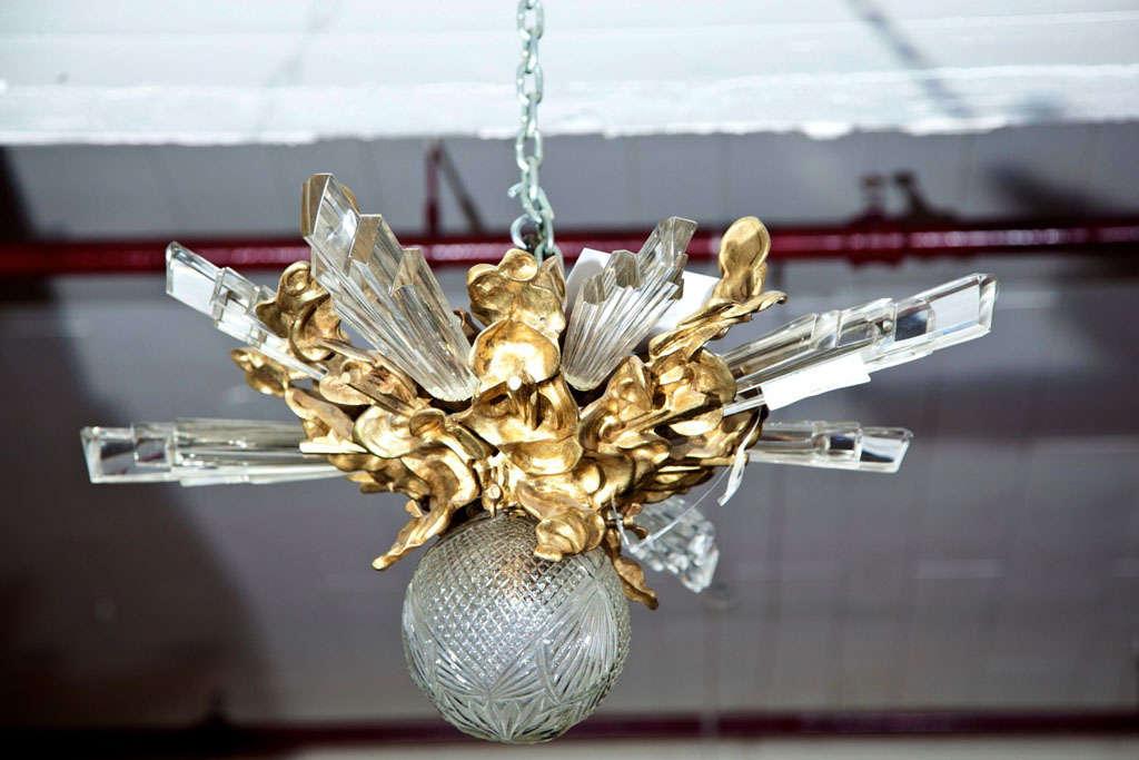 Baccarat Style and Bronze Art Deco Chandelier 2