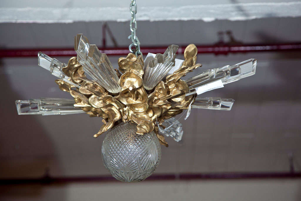 Baccarat Style and Bronze Art Deco Chandelier 3