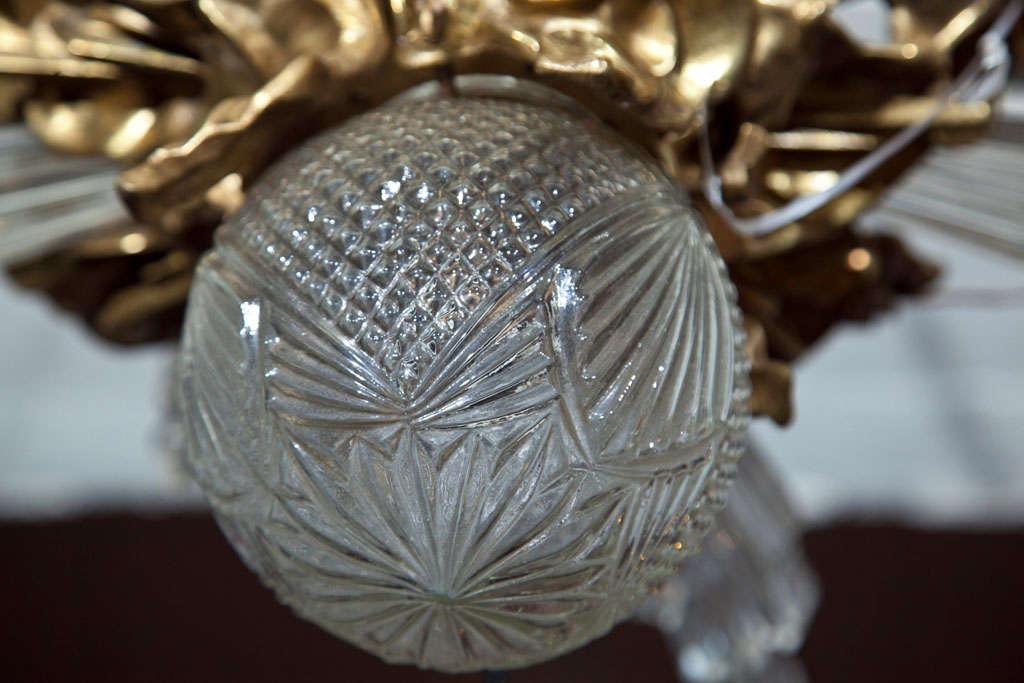 Baccarat Style and Bronze Art Deco Chandelier 5