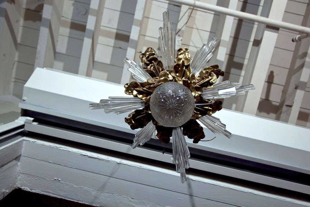 Baccarat Style and Bronze Art Deco Chandelier 6