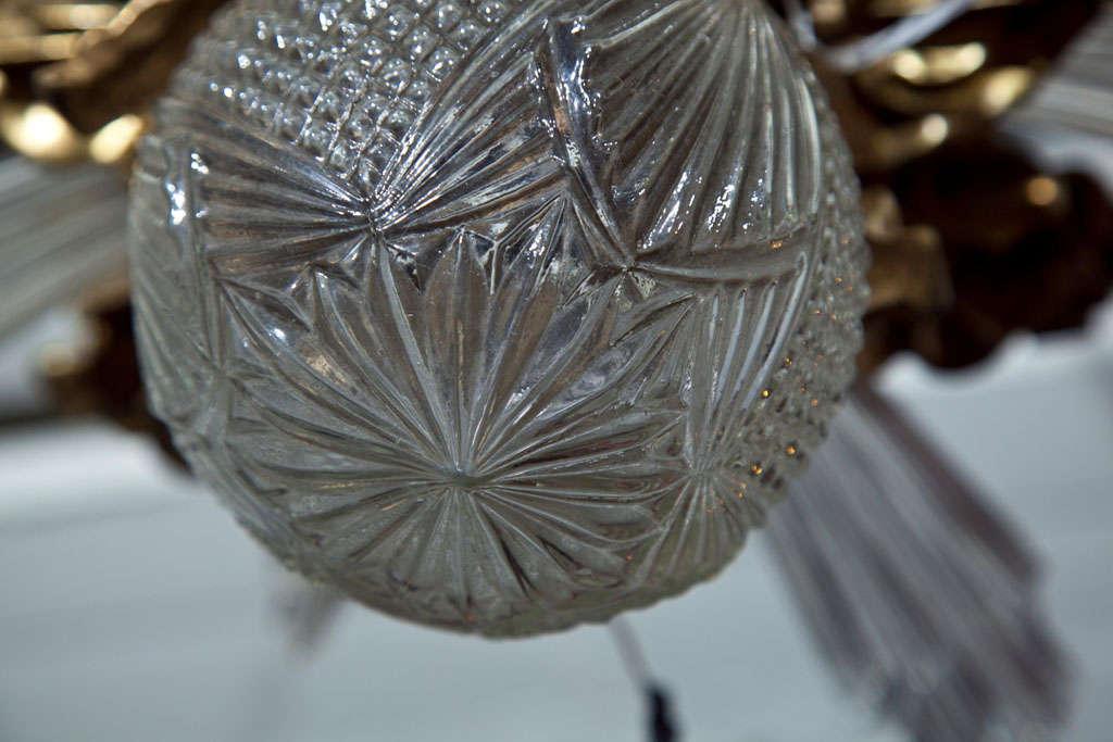 Baccarat Style and Bronze Art Deco Chandelier 8