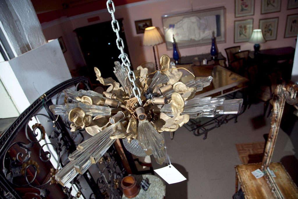 Baccarat Style and Bronze Art Deco Chandelier 9