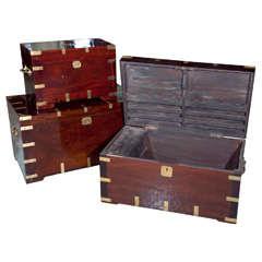 Assortment of Antique Campaign Boxes