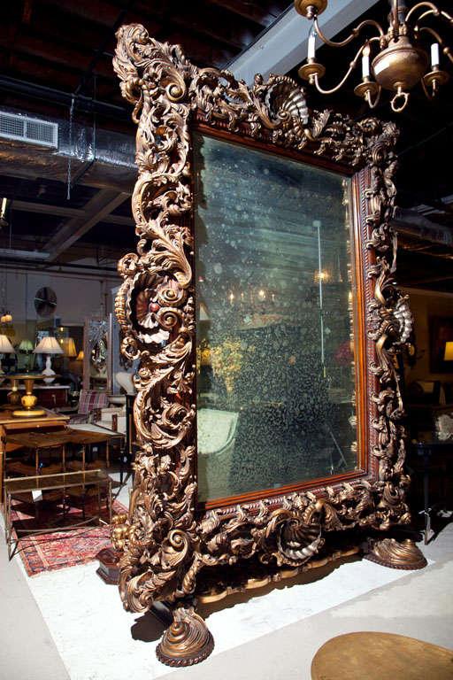 Monumental French Baroque Style Floor, Baroque Gold Floor Mirror