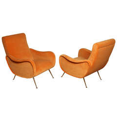 Exquisite Sculptural Italian Armchairs